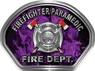 Firefighter PARAMEDIC Fire Fighter, EMS, Rescue Helmet Face Decal Reflective in Inferno Purple