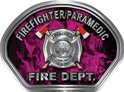 Firefighter PARAMEDIC Fire Fighter, EMS, Rescue Helmet Face Decal Reflective in Inferno Pink