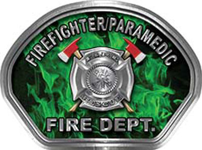 Firefighter PARAMEDIC Fire Fighter, EMS, Rescue Helmet Face Decal Reflective in Inferno Green