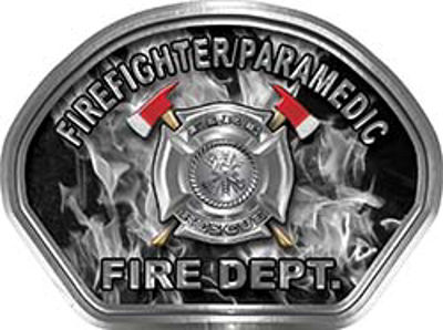 Firefighter PARAMEDIC Fire Fighter, EMS, Rescue Helmet Face Decal Reflective in Inferno Gray