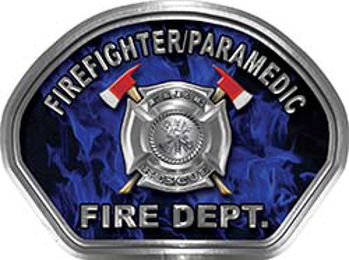 Firefighter PARAMEDIC Fire Fighter, EMS, Rescue Helmet Face Decal Reflective in Inferno Blue