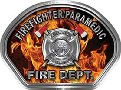 Firefighter PARAMEDIC Fire Fighter, EMS, Rescue Helmet Face Decal Reflective in Inferno Real Flames