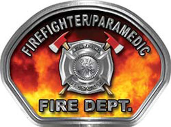 Firefighter PARAMEDIC Fire Fighter, EMS, Rescue Helmet Face Decal Reflective in Real Fire