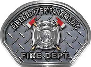 Firefighter PARAMEDIC Fire Fighter, EMS, Rescue Helmet Face Decal Reflective With Diamond Plate