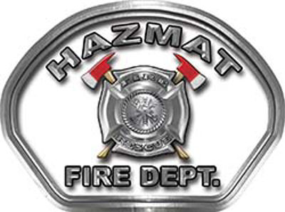 Hazmat Fire Fighter, EMS, Rescue Helmet Face Decal Reflective in White