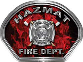 Hazmat Fire Fighter, EMS, Rescue Helmet Face Decal Reflective in Inferno Red