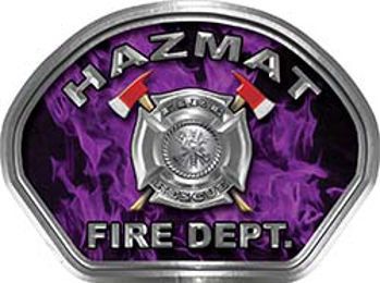 Hazmat Fire Fighter, EMS, Rescue Helmet Face Decal Reflective in Inferno Purple