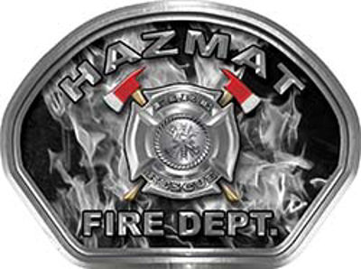 Hazmat Fire Fighter, EMS, Rescue Helmet Face Decal Reflective in Inferno Gray