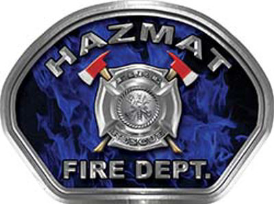 Hazmat Fire Fighter, EMS, Rescue Helmet Face Decal Reflective in Inferno Blue