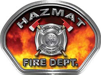 Hazmat Fire Fighter, EMS, Rescue Helmet Face Decal Reflective in Real Fire