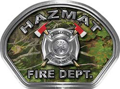 Hazmat Fire Fighter, EMS, Rescue Helmet Face Decal Reflective in Real Camo