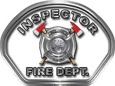 Inspector Fire Fighter, EMS, Rescue Helmet Face Decal Reflective in White