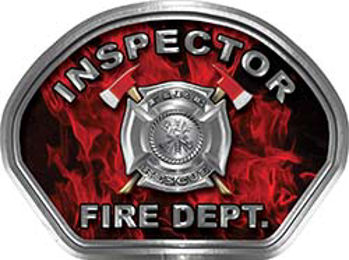 Inspector Fire Fighter, EMS, Rescue Helmet Face Decal Reflective in Inferno Red