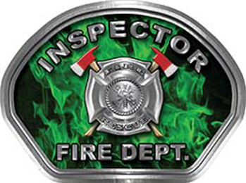 Inspector Fire Fighter, EMS, Rescue Helmet Face Decal Reflective in Inferno Green