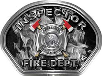 Inspector Fire Fighter, EMS, Rescue Helmet Face Decal Reflective in Inferno Gray