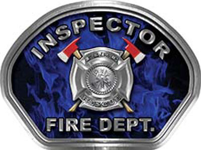 Inspector Fire Fighter, EMS, Rescue Helmet Face Decal Reflective in Inferno Blue