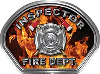 Inspector Fire Fighter, EMS, Rescue Helmet Face Decal Reflective in Inferno Real Flames