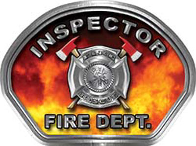 Inspector Fire Fighter, EMS, Rescue Helmet Face Decal Reflective in Real Fire