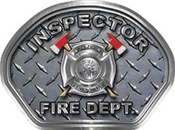 Inspector Fire Fighter, EMS, Rescue Helmet Face Decal Reflective With Diamond Plate