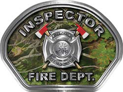 Inspector Fire Fighter, EMS, Rescue Helmet Face Decal Reflective in Real Camo