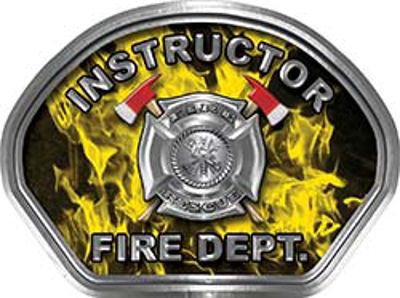 Instructor Fire Fighter, EMS, Rescue Helmet Face Decal Reflective in Inferno Yellow
