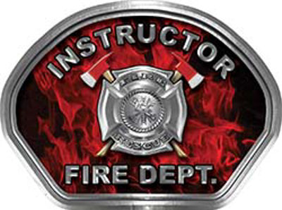 Instructor Fire Fighter, EMS, Rescue Helmet Face Decal Reflective in Inferno Red
