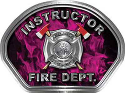 Instructor Fire Fighter, EMS, Rescue Helmet Face Decal Reflective in Inferno Pink