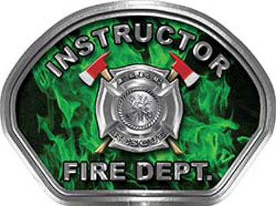 Instructor Fire Fighter, EMS, Rescue Helmet Face Decal Reflective in Inferno Green