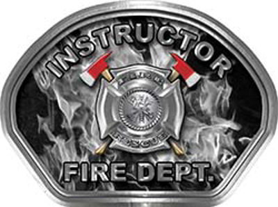 Instructor Fire Fighter, EMS, Rescue Helmet Face Decal Reflective in Inferno Gray
