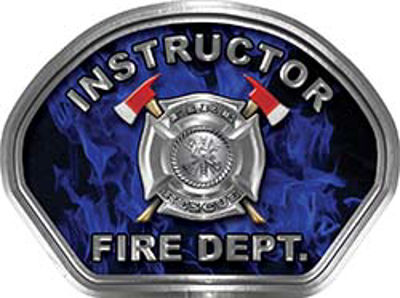 Instructor Fire Fighter, EMS, Rescue Helmet Face Decal Reflective in Inferno Blue