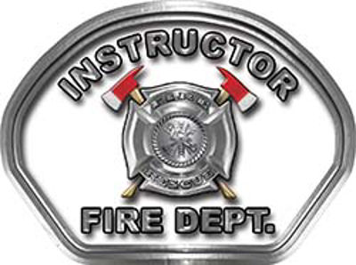 Instructor Fire Fighter, EMS, Rescue Helmet Face Decal Reflective in Real Fire