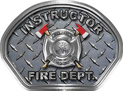 Instructor Fire Fighter, EMS, Rescue Helmet Face Decal Reflective With Diamond Plate