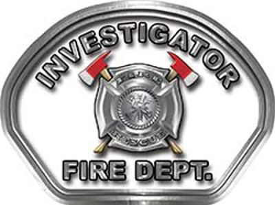 Investigator Fire Fighter, EMS, Rescue Helmet Face Decal Reflective in White