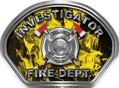 Investigator Fire Fighter, EMS, Rescue Helmet Face Decal Reflective in Inferno Yellow