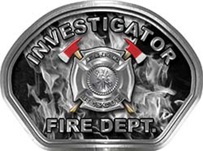 Investigator Fire Fighter, EMS, Rescue Helmet Face Decal Reflective in Inferno Gray
