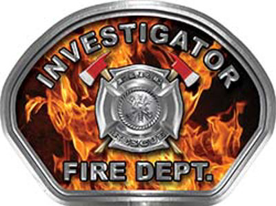 Investigator Fire Fighter, EMS, Rescue Helmet Face Decal Reflective in Inferno Real Flames