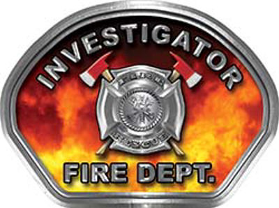 Investigator Fire Fighter, EMS, Rescue Helmet Face Decal Reflective in Real Fire