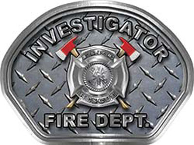 Investigator Fire Fighter, EMS, Rescue Helmet Face Decal Reflective With Diamond Plate