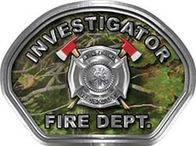Investigator Fire Fighter, EMS, Rescue Helmet Face Decal Reflective in Real Camo