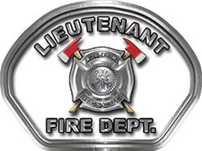 Lieutenant Fire Fighter, EMS, Rescue Helmet Face Decal Reflective in White
