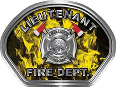 Lieutenant Fire Fighter, EMS, Rescue Helmet Face Decal Reflective in Inferno Yellow