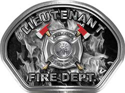 Lieutenant Fire Fighter, EMS, Rescue Helmet Face Decal Reflective in Inferno Gray