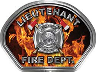 Lieutenant Fire Fighter, EMS, Rescue Helmet Face Decal Reflective in Inferno Real Flames