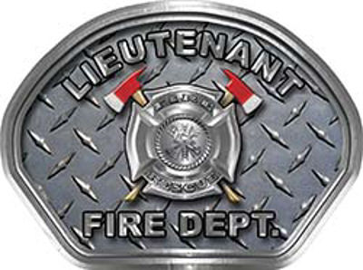Lieutenant Fire Fighter, EMS, Rescue Helmet Face Decal Reflective With Diamond Plate