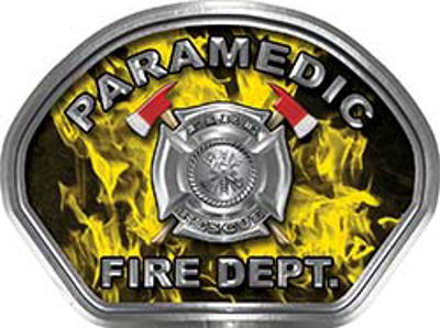 Paramedic Fire Fighter, EMS, Rescue Helmet Face Decal Reflective in Inferno Yellow