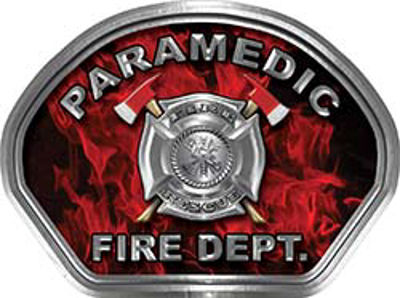 Paramedic Fire Fighter, EMS, Rescue Helmet Face Decal Reflective in Inferno Red