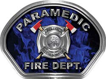 Paramedic Fire Fighter, EMS, Rescue Helmet Face Decal Reflective in Inferno Blue