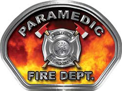 Paramedic Fire Fighter, EMS, Rescue Helmet Face Decal Reflective in Real Fire
