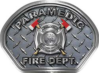 Paramedic Fire Fighter, EMS, Rescue Helmet Face Decal Reflective With Diamond Plate