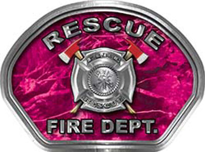 Rescue Fire Fighter, EMS, Rescue Helmet Face Decal Reflective in Pink Camo